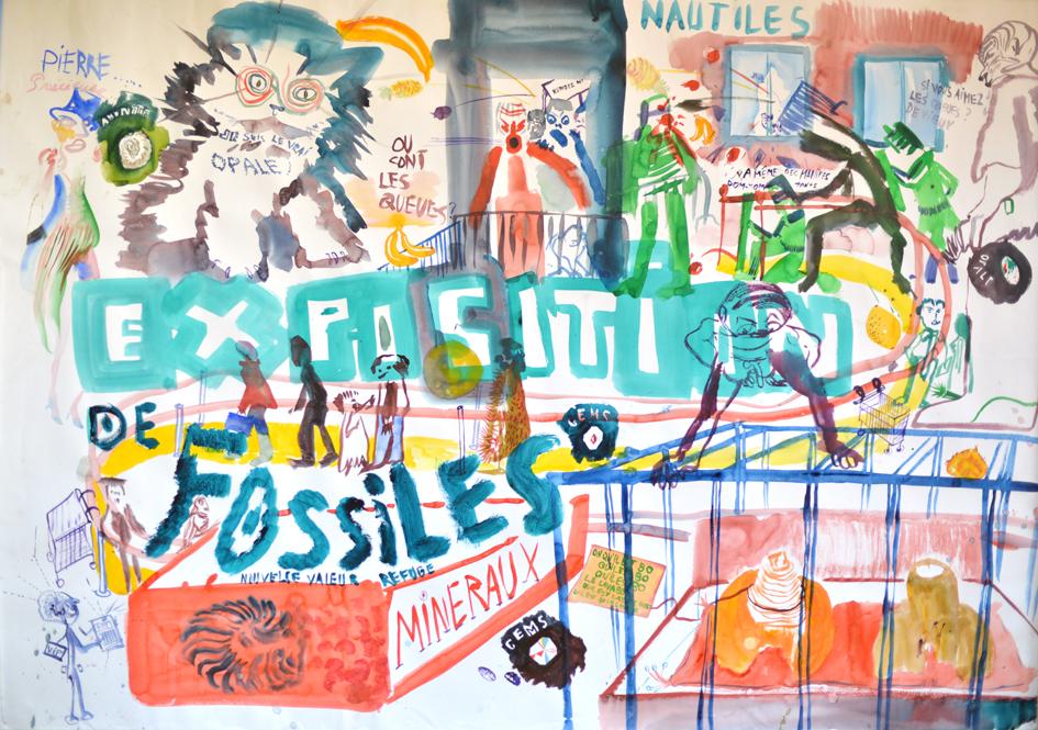 Exposition de fossiles. 113x148cm. finis en 2014.